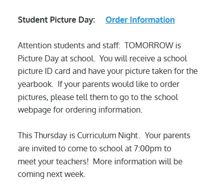 image of school picture day announcement