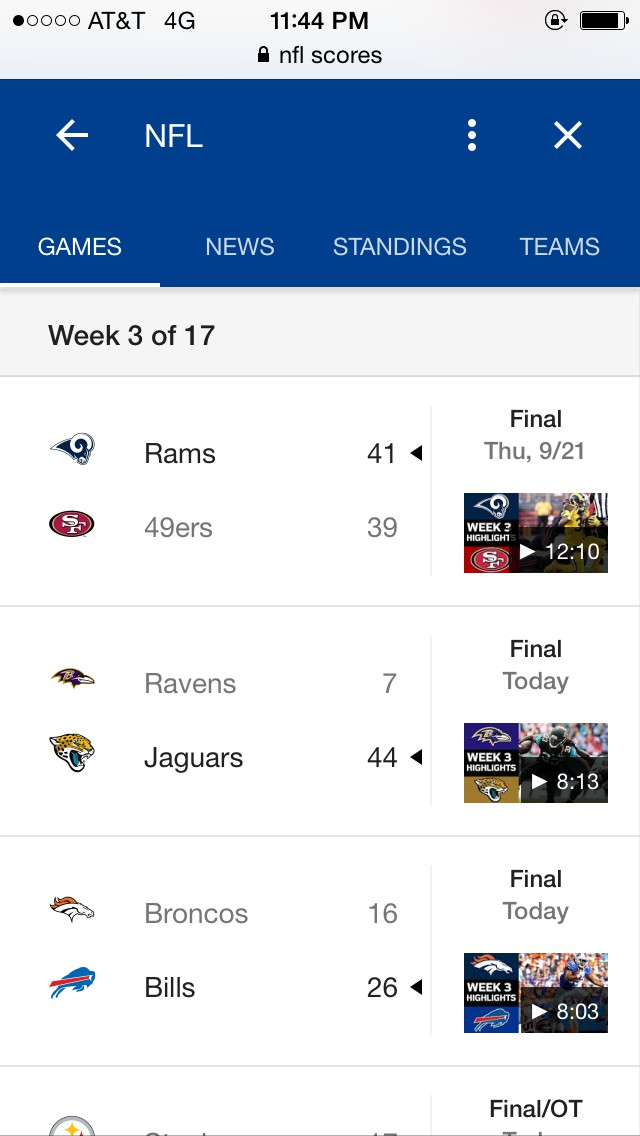 image of scores being displayed nicely on Google