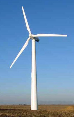 photo of an electricity-generating wind turbine windmill