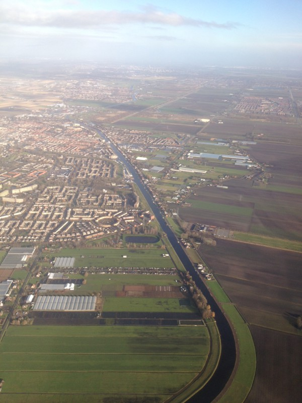 photo of the land around Amsterdam, from an airplane window