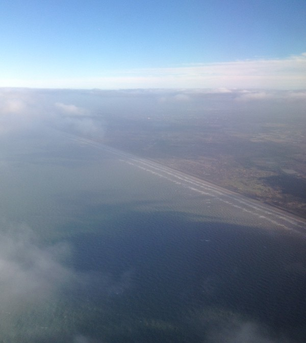 photo of the Netherlands coastline, from an airplane window