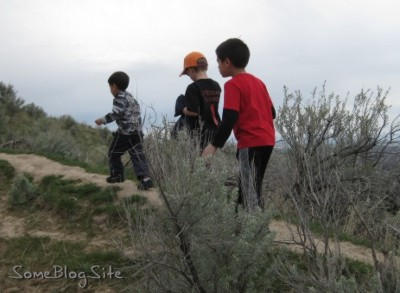 photo of children hiking up to Table Rock in Boise