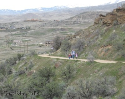 photo of family walking along the hiking path in Boise