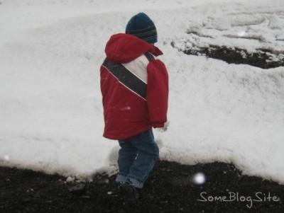 photo of cold child on snowy mountainside in Idaho