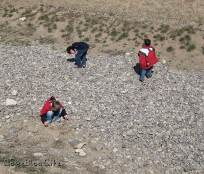 photo of kids looking around rocks for spiders