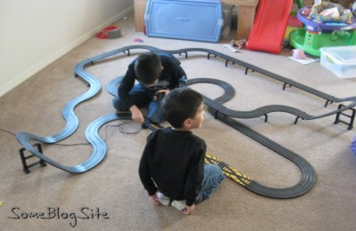photo of setting up a slotcar racetrack