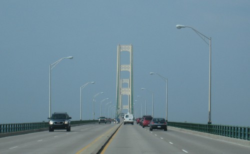 view of the Mackinac Bridge while driving over it