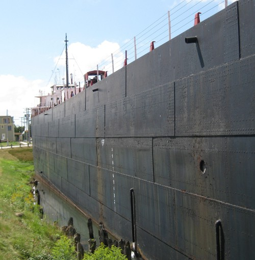 an old Great Lakes freighter, now a museum