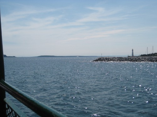 view from the boat on the ride over to Mackinac Island