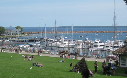 view of the Mackinac Island harbor from the island