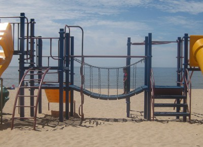 picture of a playground on the beach