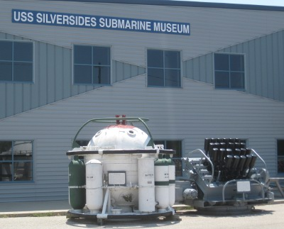 photo of hedgehog anti-submarine weapon outside the museum of the USS Silversides submarine