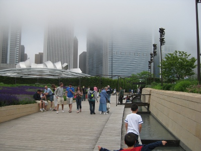 picture of the fog above the river walk park in downtown Chicago
