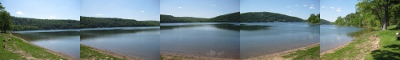 panorama photo of Devil's Lake near Baraboo, Wisconsin