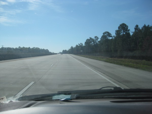view of a freeway from the driver's seat