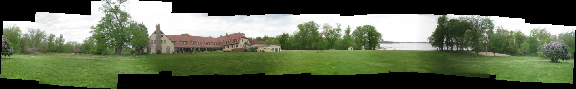 panoramic photo of the Potawatomi Inn  at Pokagon State Park in Angola Indiana