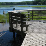 picture of a deck and boardwalk going to the Au Sable river