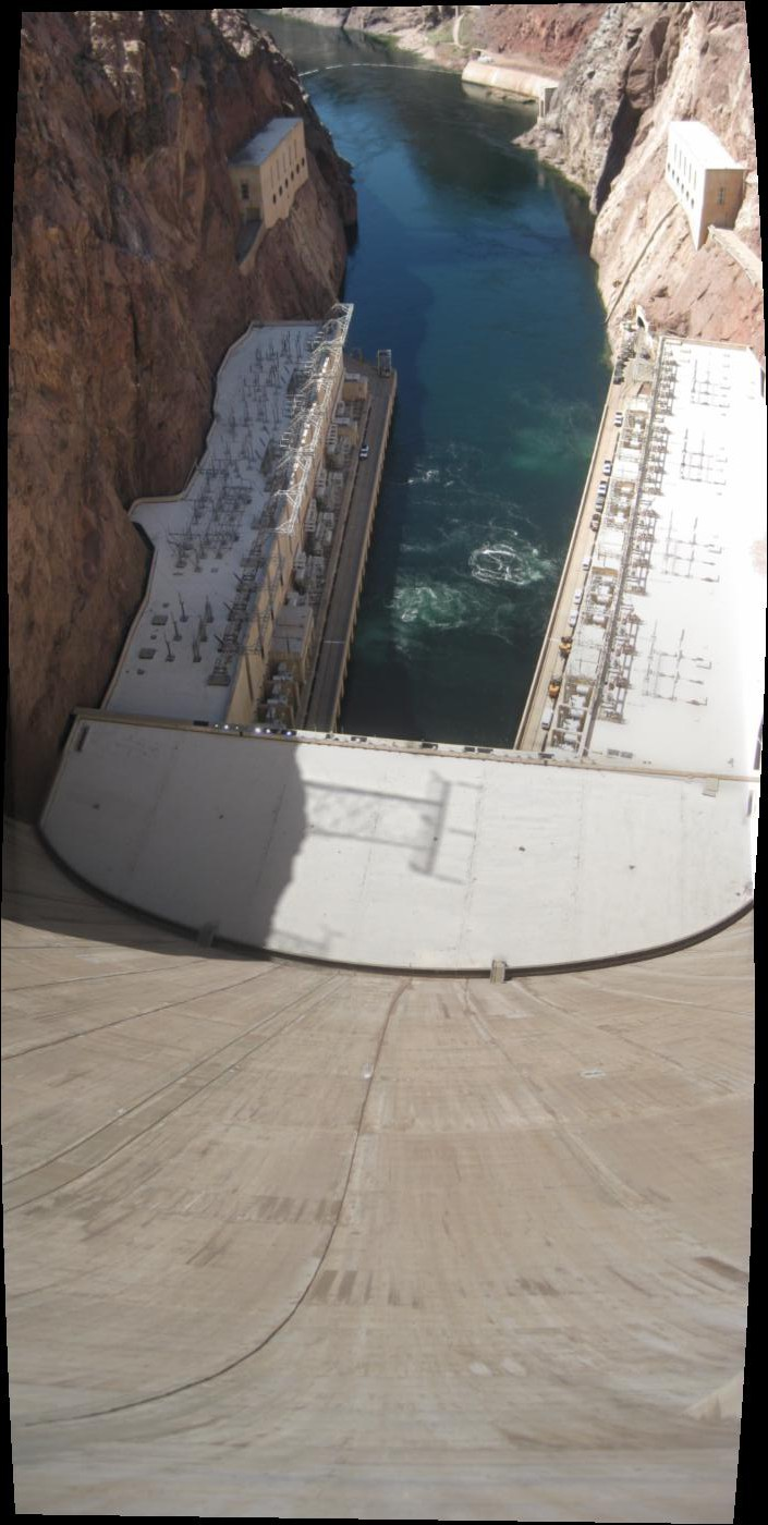 panoramic photo of the Hoover Dam, looking down from the middle of the dam itself
