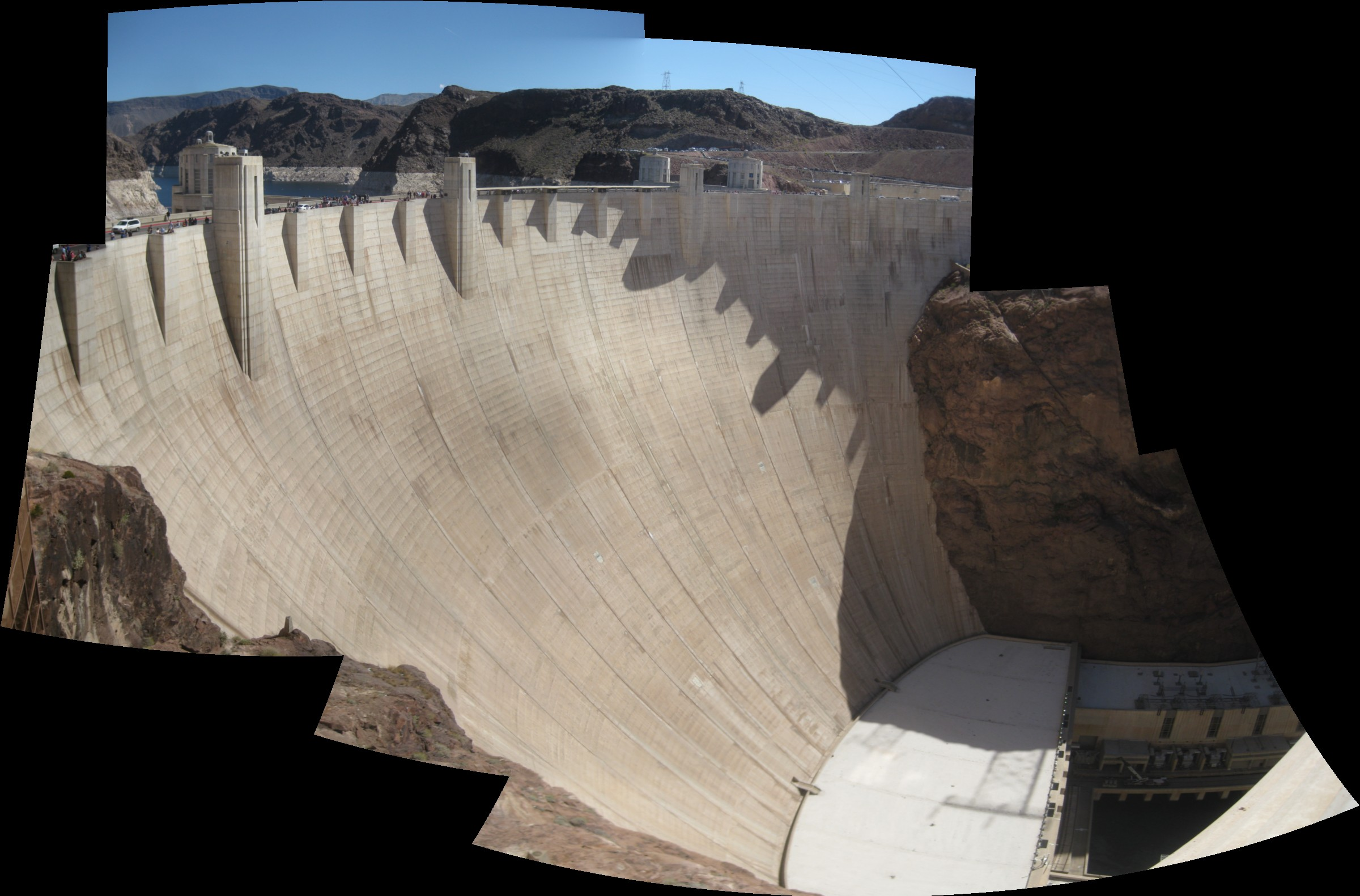 panoramic photo of the Hoover Dam, as seen from the overlook on the Nevada side