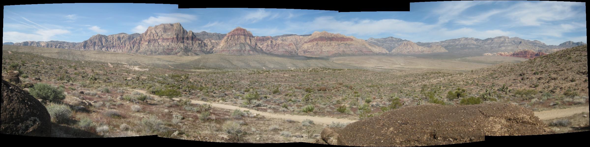 panoramic photo of the mountains near Red Rock Canyon