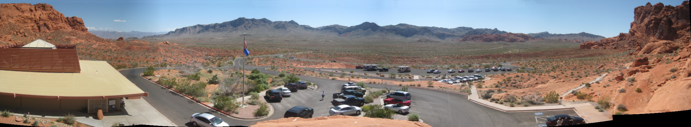 panoramic photo of the Valley of Fire, taken from the climbing rock next to the visitor's center