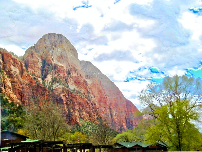 HDR photo of one of the peaks at Zion National Park