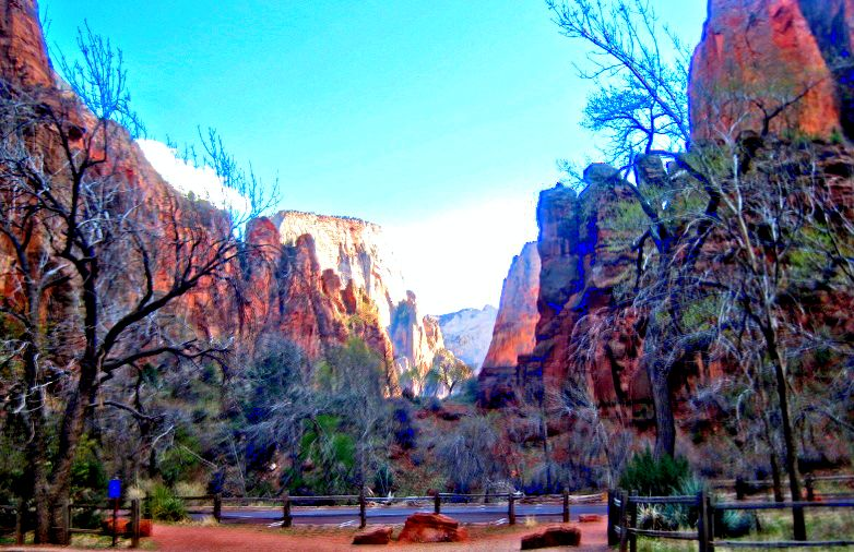 HDR photo of the canyon at Zion National Park