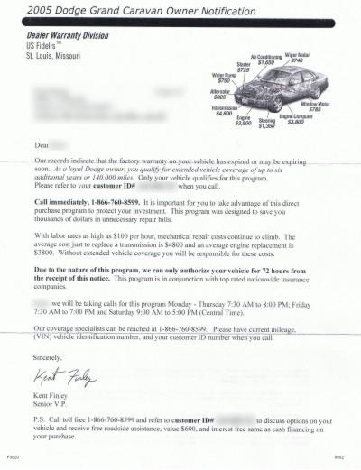 letter describing third-party warranty program
