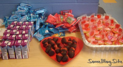 food at a kindergarten Valentine's Day party