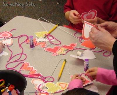 craft with paper at a kindergarten Valentine's Day party
