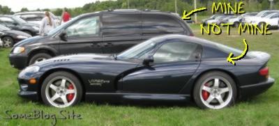 picture of Dodge Viper in front of Dodge Caravan